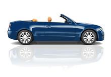 3D Image Of Blue Convertible Car