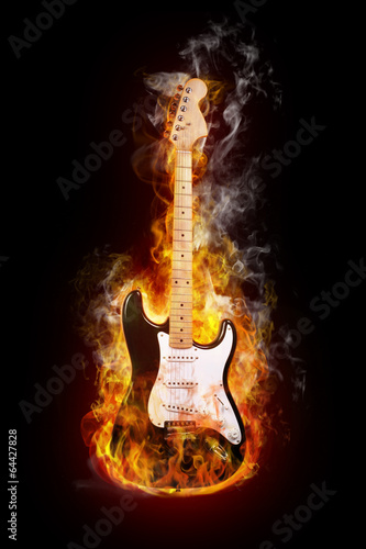 Canvas Prints Flame electric guitar