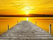 embarcadero en el lago dorado