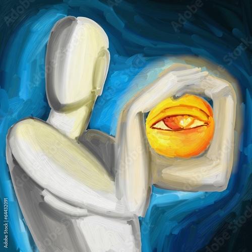 abstrakcyjne-tlo-z-kobieta-i-sloncem-malarstwo