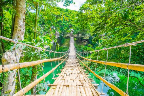 Bambusowy zawieszenie dla pieszych most nad rzeką