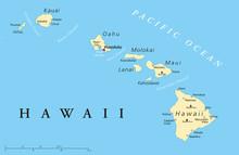 Hawaii Islands Political Map