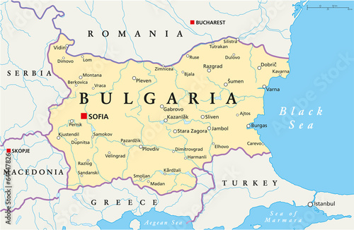 Bulgaria Political Map Wallpaper Mural