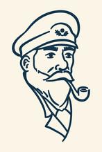 Bearded Boat Captain Smoking Pipe Illustration
