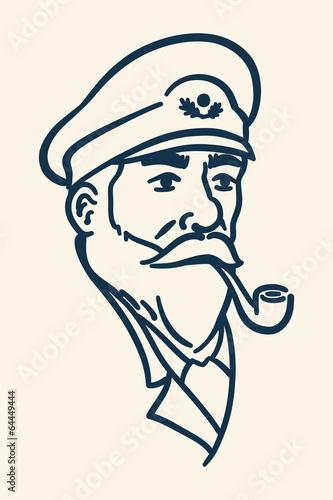 Fotografía  Bearded boat captain smoking pipe illustration