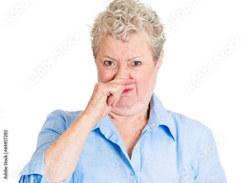 something stinks bad smell senior woman with disgusted face buy