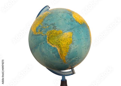 South America earth globe map