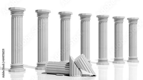 Fototapeta Ancient marble pillars in a row isolated on white obraz na płótnie