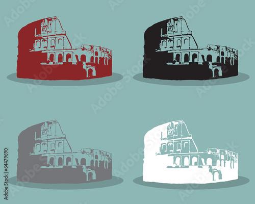 Photo  Set of Colosseum in Rome Black Silhouette Vector Illustration.