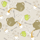 Seamless tea pattern teapots, cups and spoons