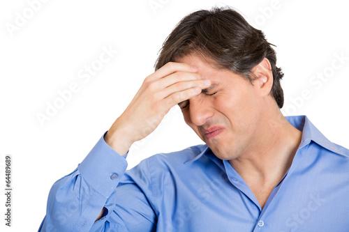 Fotografía  headshot man with head ache stress in life on white background