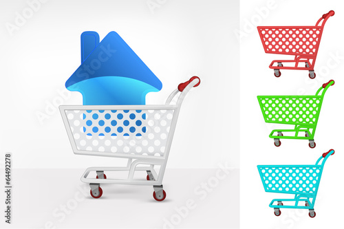 Keuken foto achterwand house icon in shopping cart colorful collection concept vector