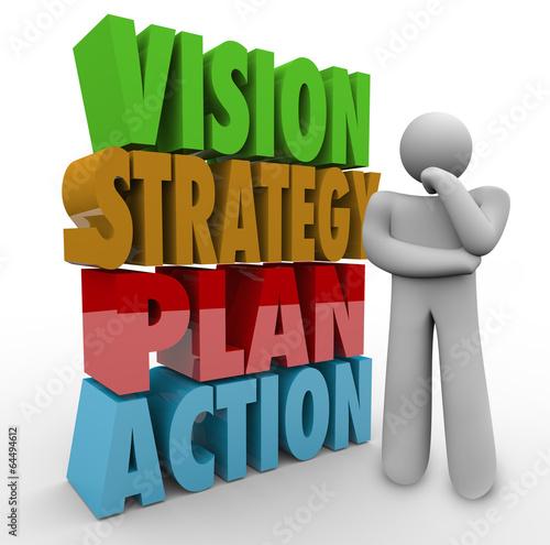 Fotografie, Obraz  Vision Strategy Plan Action Thinker Beside 3D Words