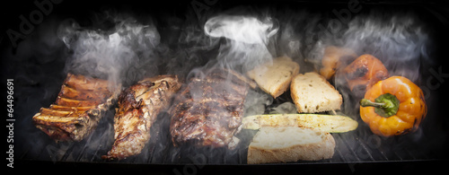 Photo Stands Meat Barbecue with meat and vegetables