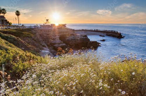 Foto op Aluminium Strand Sunset at La Jolla cove beach, San Diego, California