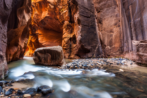 Photo sur Toile Rouge mauve Wall street in the Narrows, Zion National Park, Utah
