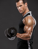 Muscle man lifting weights