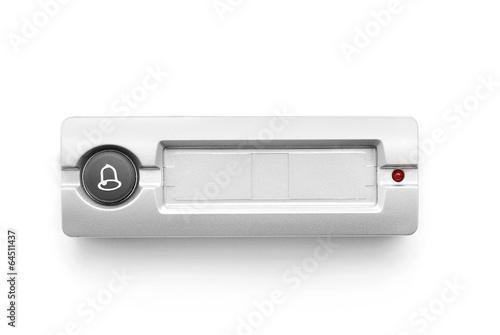 фотографія  doorbell ring button on white