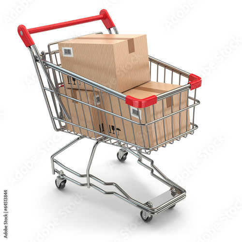 Fotografía  Shopping cart with boxes on white isolated background