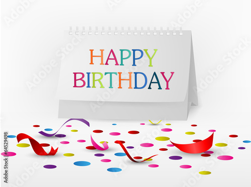 Happy Birthday Greetings Card With Note Paper Buy This Stock