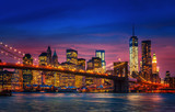 Fototapeta Nowy York - Manhattan with lights and reflections