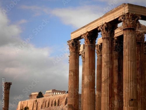 In de dag Athene Greek Temple Athens Acropolis