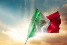 Mexican Flag Against A Bright ...