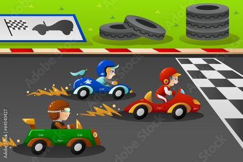 Staande foto Cartoon cars Kids in a car racing