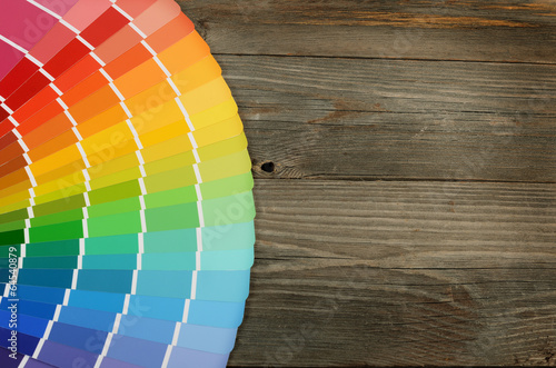 Color palette on the wooden background Poster