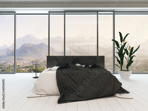 Fotografie, Obraz  Bedroom interior with double bed and bedding