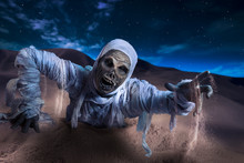 Scary Mummy In A Desert At Night