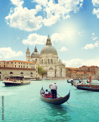 Türaufkleber Gondeln Grand Canal and Basilica Santa Maria della Salute, Venice, Italy