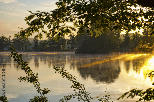 Keuken foto achterwand Bruggen Misty dawn at the lake