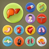 Medicine and Health, long shadow icon set