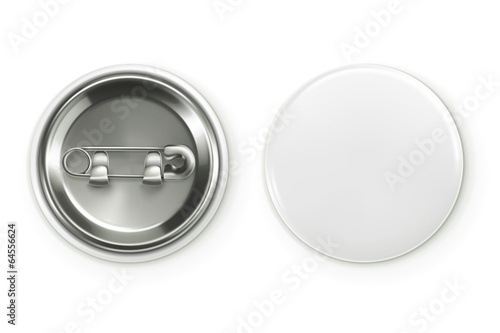 Fotografía  Blank white badge, vector realistic illustration