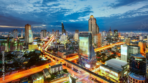 Bangkok Cityscape at twilight, The traffic in the city Canvas Print