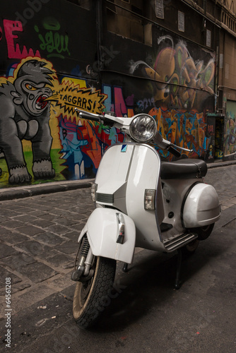 Vespa Scooter Parked In Hosier Lane Melbourne Buy This Stock