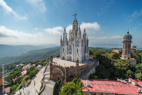 Foto op Canvas Barcelona The Temple Expiatori del Sagrat Cor