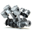 canvas print picture V6 engine pistons. 3D image.