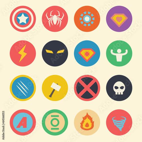 superhero flat icons Wallpaper Mural
