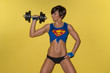 Fit strong female weightlifter