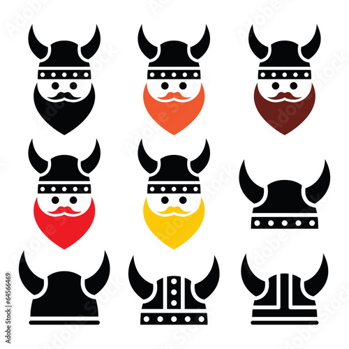 Fotografie, Obraz  Viking warrior in helmet icons set