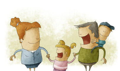 Couple giving two young children smiling