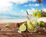 Summer mojito drink on beach