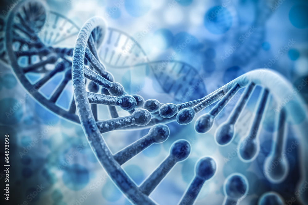 Fototapeta 3d render of dna structure, abstract  background