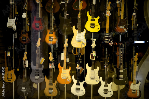 Deurstickers Muziekwinkel Electric guitars