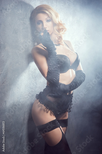 0ffc4306f Young and beautiful cabaret dancer in sexy vintage lingerie smok ...