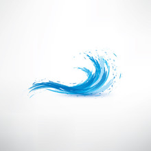 Blue Water Wave, Abstract Vect...