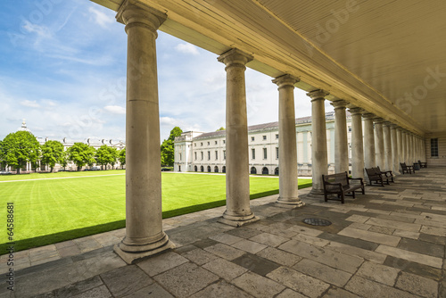 Queen's House, Greenwich, England  - view through the columns Fotobehang