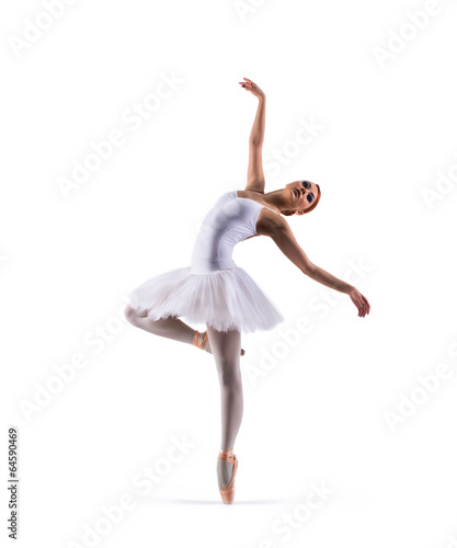 Photo  Young beautiful ballet dancer isolated on white